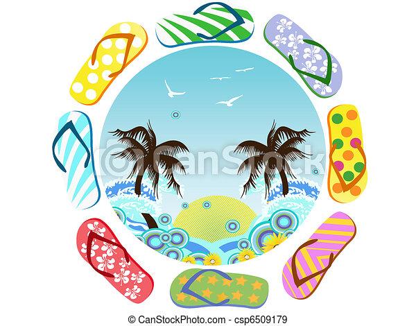 Flip Flops around summer - csp6509179