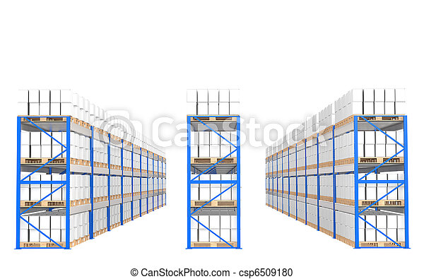 Warehouse Shelves, Front view. Part of a Blue Warehouse and logistics series. - csp6509180