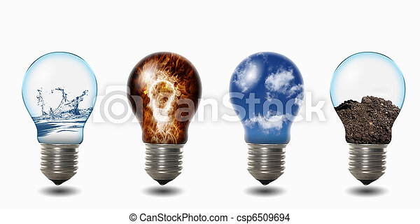 light bulb with four elements - csp6509694