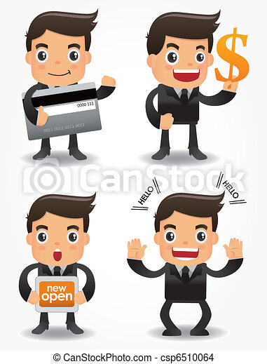 funny cartoon office worker with sale Promotions icon set - csp6510064