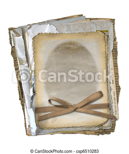 Grunge papers design in scrapbooking style on the isolated white background - csp6510283