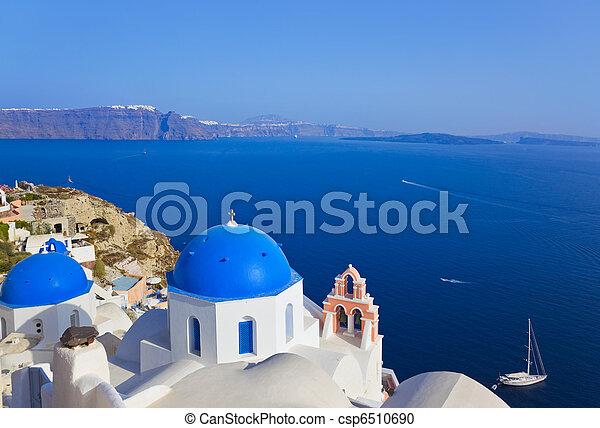 (oia), 教堂, santorini, 希臘 - csp6510690