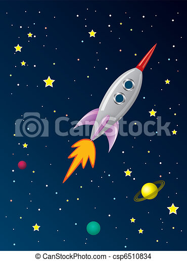 vector stylized retro rocket ship in space - csp6510834