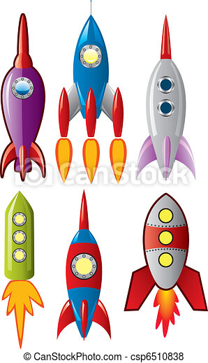 vector set of stylized space retro rocket ships - csp6510838
