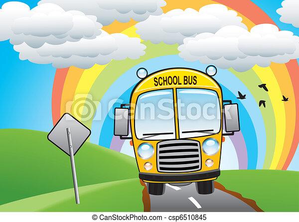 vector yellow school bus on the road - csp6510845
