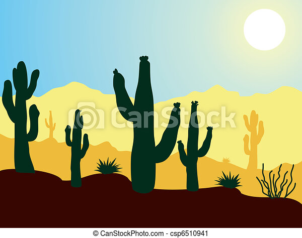 vector cactus plants and mountains in desert - csp6510941