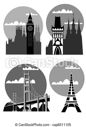 famous cities and places - vector - csp6511105
