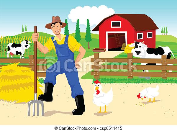 Farmer in Cartoon - csp6511415