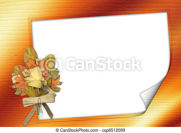 Grunge card  in scrapbooking style, with bouquet - csp6512099