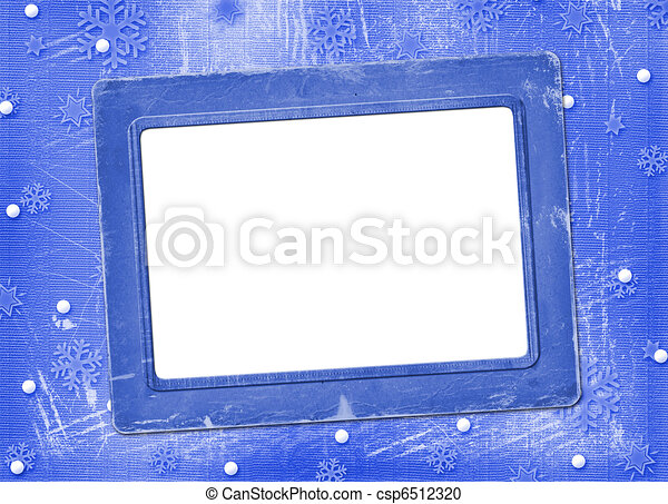 Old blue frame for photo, on the Winter background - csp6512320