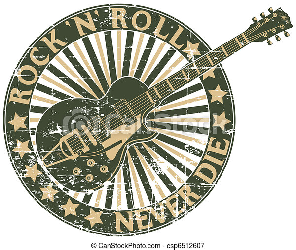 Rock n Roll never die stamp - csp6512607