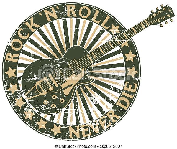 Rock n Roll never die stamp - csp6512607