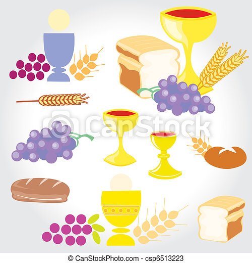 Set of Illustration of a communion  - csp6513223