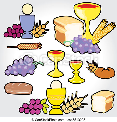 Set of Illustration of a communion - csp6513225