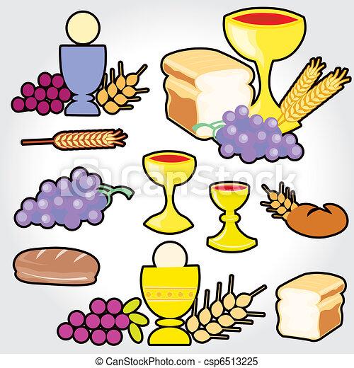 Set of Illustration of a communion  - csp6513225