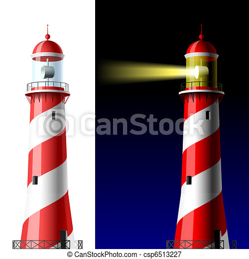 Lighthouse on white and dark - csp6513227