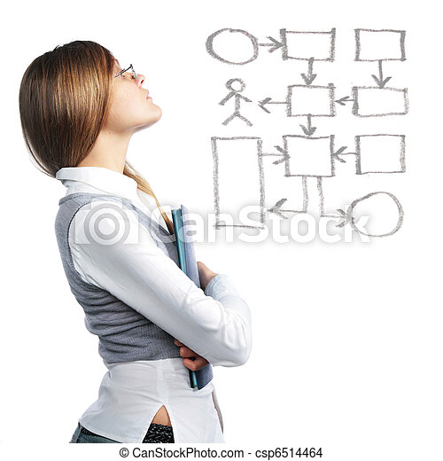 Business woman looking at flowchart - csp6514464