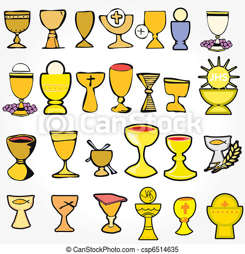... communion depicting traditional Christian symbols including chalice