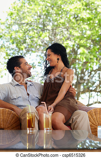 happy husband and wife doing honeymoon in resort - csp6515326
