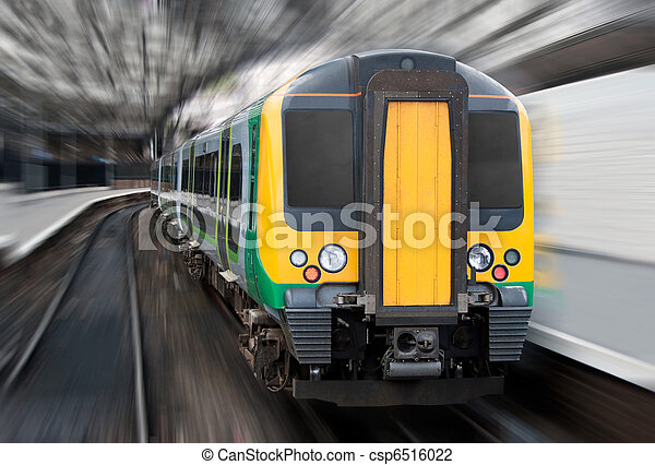 Fast Speed Train with Radial Blur. Commuter Transport - csp6516022