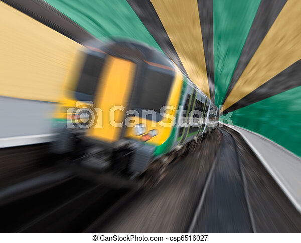 Commuter Train Speeding in Tunnel with Radial Zoom Blur - csp6516027