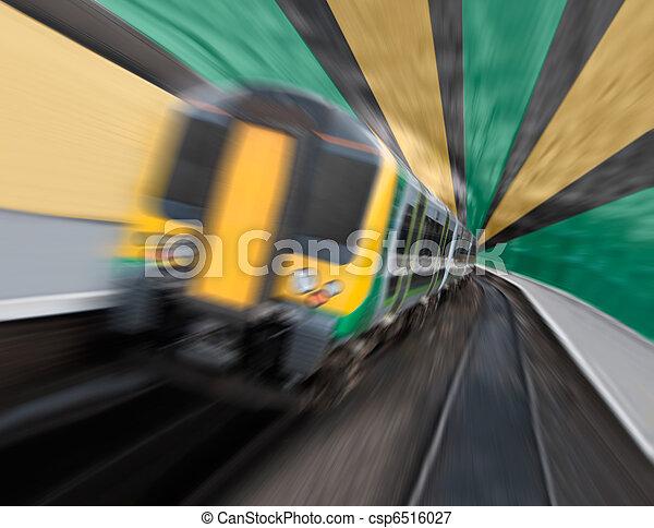 Commuter Train Speeding in Tunnel with Radial Zoom Blur - csp6516027