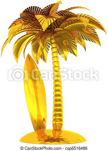 Golden surf board palm tree island - csp6516486