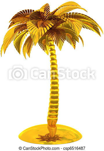 Golden palm tree island stylized - csp6516487