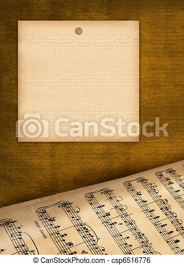 Framework for invitations. Grunge background. A music book. - csp6516776