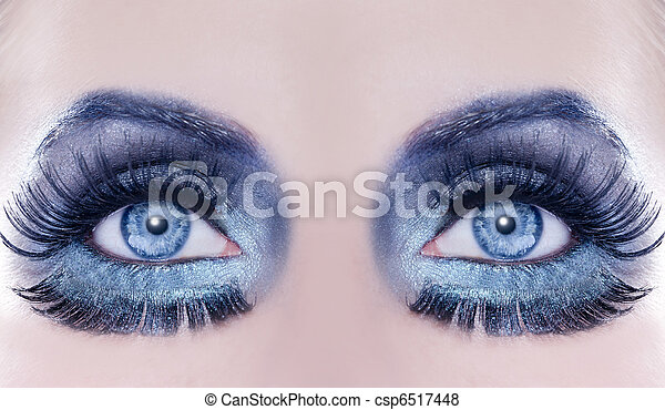 Blue eyes macro closeup fantasy fashion makeup - csp6517448