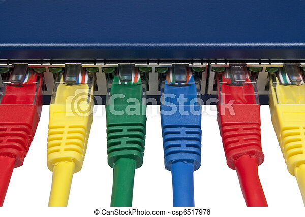 Rainbow colored computer network plugs connected to a router - csp6517978
