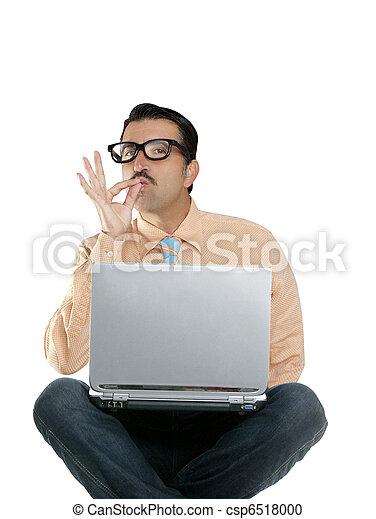 geek man sit laptop computer ok positive gesture - csp6518000