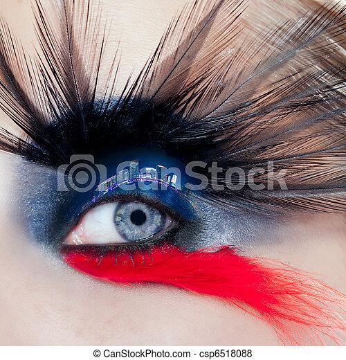 black bird woman eye makeup macro night city eyelid - csp6518088