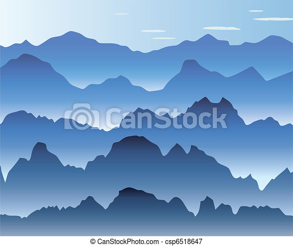 blue morning mist in the mountains - csp6518647