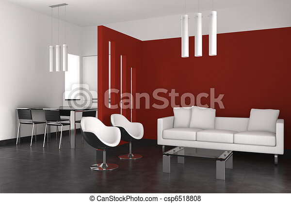 modern interior with living room dining room and kitchen - csp6518808