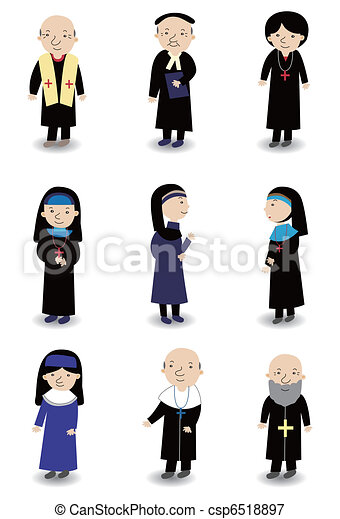 cartoon Priest and nun icon set