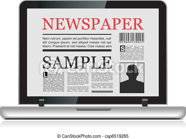 Clipart Vector of Online newspaper Laptop and news website on white ...: www.canstockphoto.com/online-newspaper-6519265.html