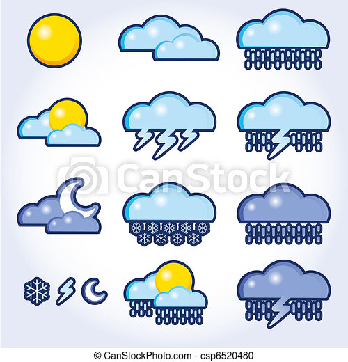 collection of vector, weather icons - csp6520480