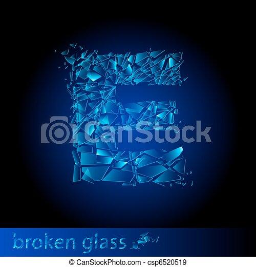 One letter of broken glass - E - csp6520519