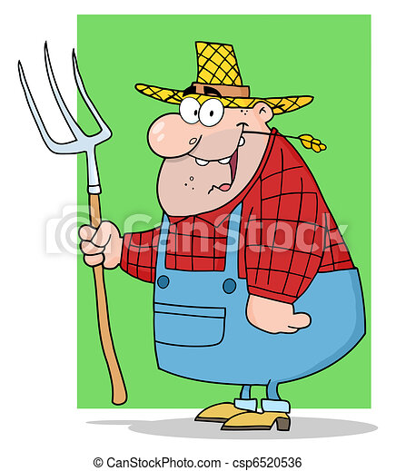Happy Farmer Man Carrying A Rake  - csp6520536
