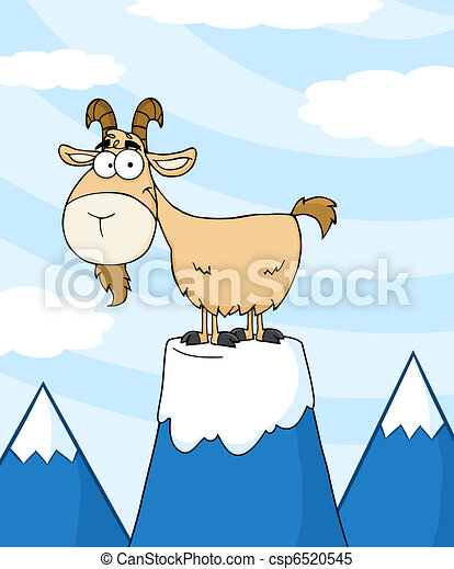 Goat On Top Of A Mountain Peak  - csp6520545