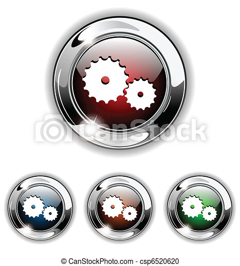 Gear icon, button, vector illustrat - csp6520620