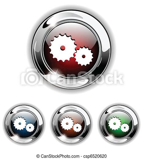Gear icon, button, vector illustrat - csp6520620