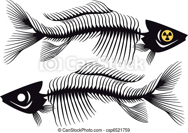 fish bones, vector - csp6521759
