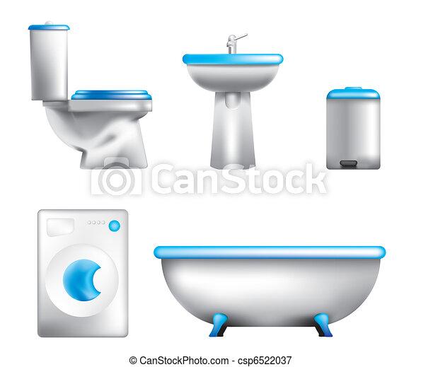 Icons of bathroom equipment  - csp6522037