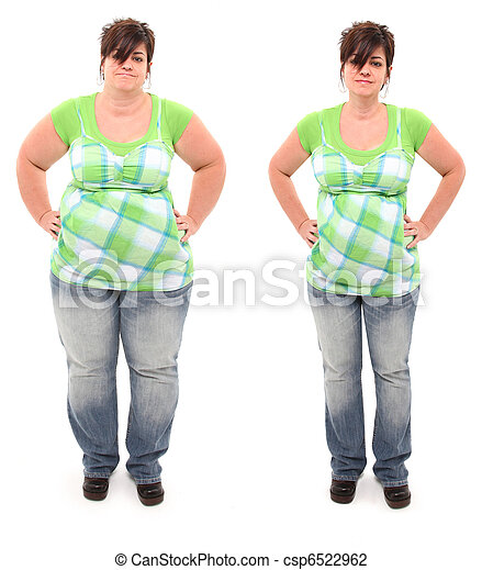 Before and After Overweight 45 year Old Woman - csp6522962