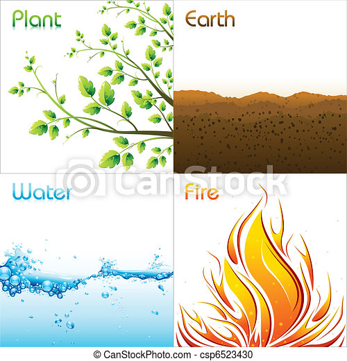 Vector Clipart of Elements of Earth - illustration of different ...