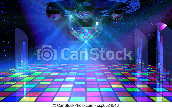 Colorful dance floor with several shining mirror balls - csp6524548