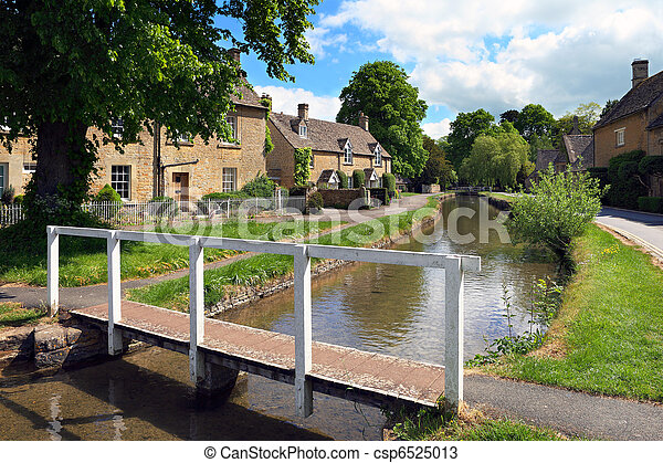 Cotswolds village of Lower Slaughter in early summer - csp6525013
