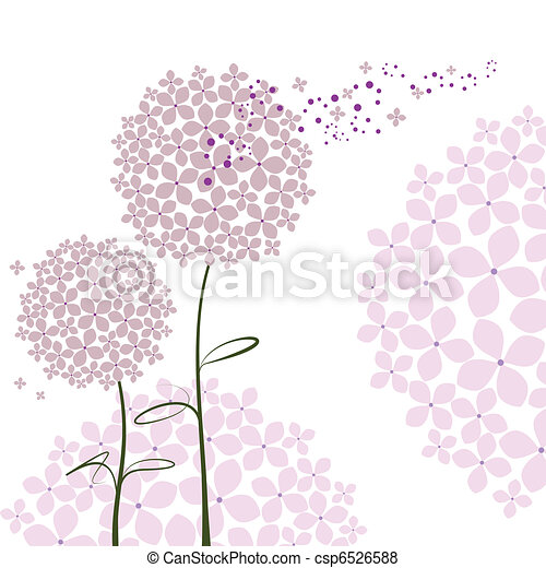 Abstract springtime purple Hydrangea flower - csp6526588